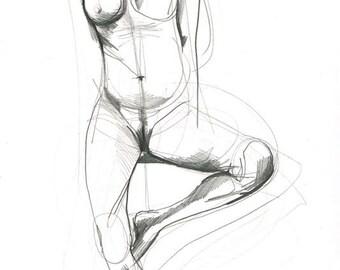Original Nude Model Drawing – Pencil on Paper