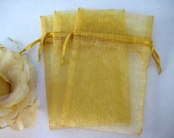 "4"" x 6"" Gold Organza Bags for Wedding Favor Bags, Party Favors bags, Gift Bags, Sachets, Anniversary Favor Bags, Jewelry Bags, 10 pieces"