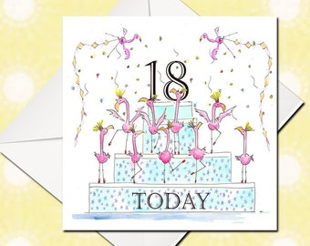 18th Birthday Card, Happy Birthday Card, Birthday Card, Greetings Card