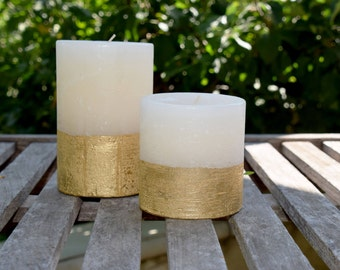 Griffith Street Candles Gold Dip Unscented Pillar Candles