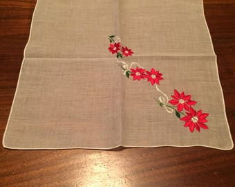 Vintage White Handkerchief with Embroidered Poinsettias