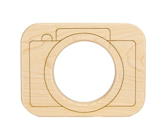 Camera Wooden Toy Teether - Montessori - Baby Gift - Baby Shower - Nursery Decor
