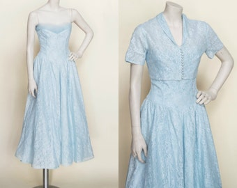 1950s Blue Lace Dress --- Vintage Strapless Party Dress