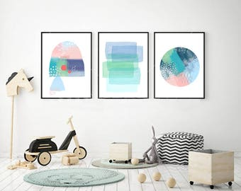 Nursery Art Prints Set Pastel wall art Minimalist Abstract Watercolor art Pink Green Blue Dots Dashes Scandinavian art Kids Room Decor