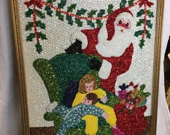 35% off Sale Vintage retro sequined kitsch Santa with children Christmas wall hanging handmade