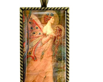 Fortuna Roman Goddess of Luck Fortune Glass Tile Pendant Necklace