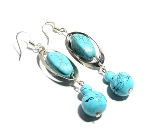 Turquoise Stone Earrings, Women, Teen, Stainless Steel, Ready To Ship,