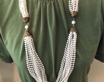 Vintage Long white multi strand Beads with Brass
