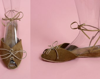 THE AU NATURALE - 1940's Inspired Tan Rough-Out Leather Adjustable Ankle Strap Wedge Sandal & Lace-Up Front - Sizes 5 to 12
