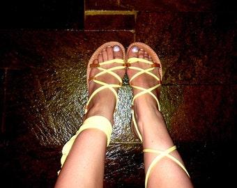 Women's leather sandals, lace up Gladiator Sandals, Greek Spartan Sandals, Pixie shoes - Lemon Jersey