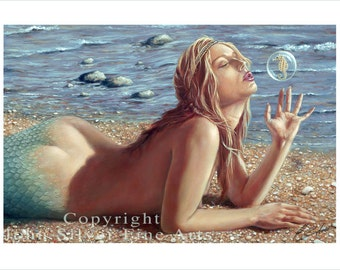 Fantasy Mermaid Portrait by award winning artist John Silver. Personally signed A4 or A3 size Print. FA001SP