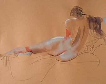 Nude #1537- original watercolor painting by Gretchen Kelly