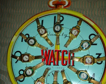 Vintage Toy Watch Display (12 watches on clock) Very cute!
