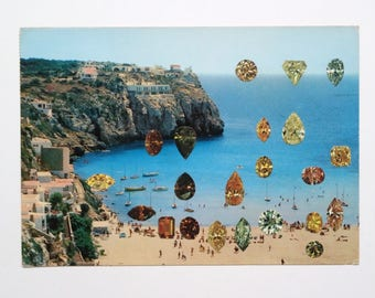 Cala Cala - original collage on vintage postcard