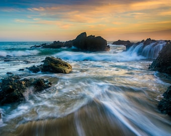 Rocks & waves at sunset, at Thousand Steps Beach, Laguna Beach, California. Photo Print, Metal, Canvas, Framed.
