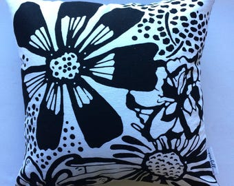 Pillow, Handmade Printed Linen & Luxurious Chenille Pillow, Bloom, Throw Pillow