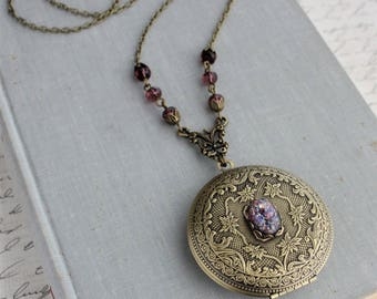 Amethyst Opal Locket Necklace
