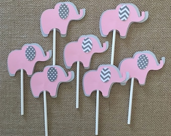 Elephant cupcake toppers/ elephant baby shower/ elephant cupcake toppers/ elephant peanut/ elephant baby shower