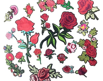 Embroidered Applique Flower Iron on Patches For Clothing Iron On Rose Patch Stickers For Garment DIY Badge (STYLE No. FOLLOW Second picture)