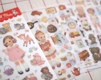 paper doll mate v.2 PVC stickers set - diary deco sticker - 6 Sheets