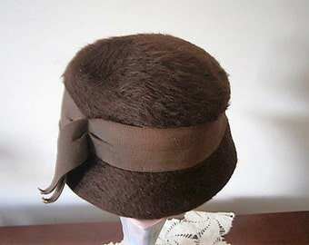 Wool Felted Brown Vintage Hat 1940's, Designer Hat, Saks Fifth Ave.