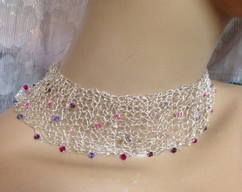 Crochet Knitted choker fine silver and Swarovski crystals-purple and pink necklace