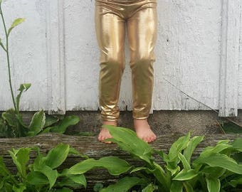 Shiny Metallic Leggings for Girls Size 2t-10, baby girls size 0-3 up to 12-18 months, colors-Gold, silver, black, red, pink, purple, blue