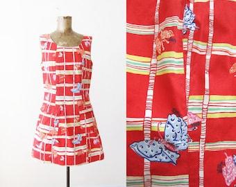 Vintage Lilly Pulitzer Dress - 90s Dress - Butterfly Print Dress - 90s Mini Dress - Rainbow Dress - A Line Dress - Red Sundress - Medium