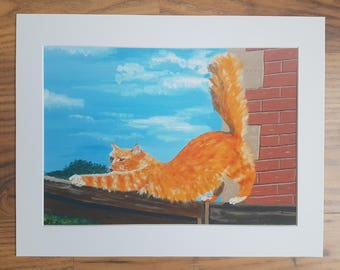 Ginger cat stretch animal art print