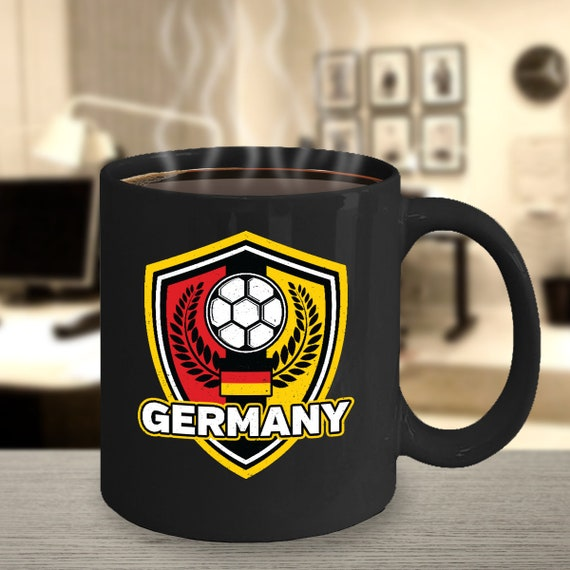 Germany Soccer Coffee Mug 11oz Black Ceramic Cup
