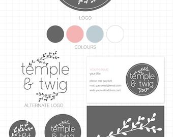 LOGO BRANDING SET - Temple & Twig - Business Card, 2 logos, Sticker, Icons, Avatar