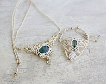 Bridal Labradorite set  ,labradorite necklace, abradorite bracelet , macrame jewelry, bridal jewelry, bridal necklace