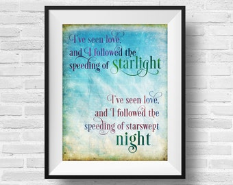 Starlight Song Quote Interpol Pace Is The Trick Designer Original 8 x 10 Typography Art Print Watercolor Frame It Yourself