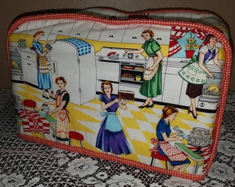 Vintage Chic Kitchen Toaster Appliance Cover Fabric with Retro Print and is Reversible