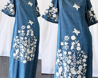 Mexican Dress Oaxacan Dress Embroidered Dress 70s Kimono Chambray Butterflies Wedding Festival Dress