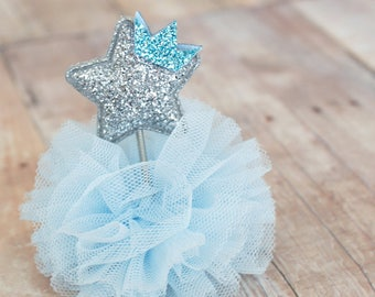 Glitter Silver Star with frill - alligator clip - little princess, birthday gift