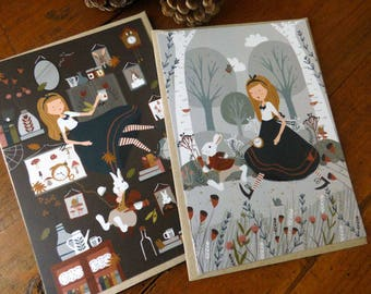 """Lot de 2 cartes postales """"Alice au pays des merveilles"""