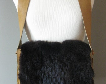 Handmade Vintage Hippie Hobo Bag with Leather and Fur