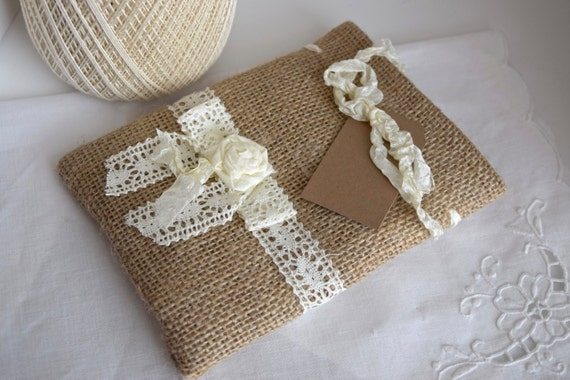 Rustic Burlap Gift Bag With Bow And Rosette