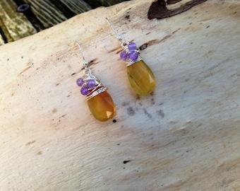 Flourite and Amethyst Wire Wrapped Drop Earrings Birthstone Earrings Simple Earrings