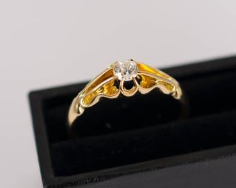 Antique Diamond Solitaire Ring 18 Carat Gold, Antique Old Cut Diamonds, Dated Birmingham 1908, Antique Diamonds, Antique Vintage Solitaires,