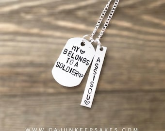 Custom Dog Tag Keychain or Necklace | Personalized | Hand Stamped Jewelry | Gifts For Him