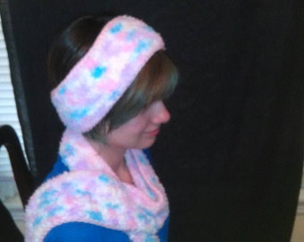 5SC- Chenille variegated scarf and headband set