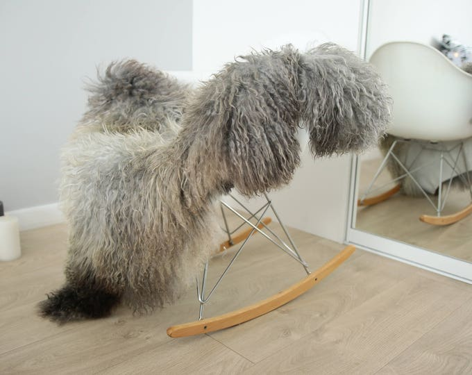 Genuine Rare Gotland Sheepskin Rug - Curly Fur Rug - Natural Sheepskin - Gray Brown Sheepskin #FEBGOT4