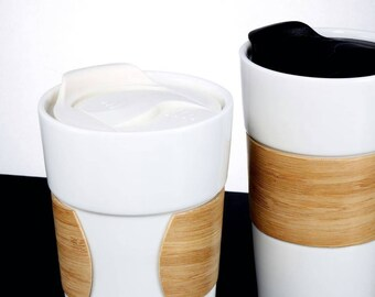 Ceramic Travel Mug With Bamboo Sleeve And Infuser