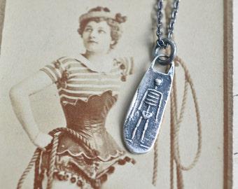 skeleton necklace - skeleton wax seal pendant - memento mori antique wax seal jewelry - minimalist necklace pendant