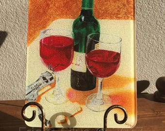 Have a Glass with Me Glass Cutting Board