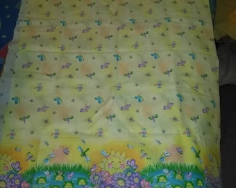 Yellow Frogs and Dragonflies Fabric