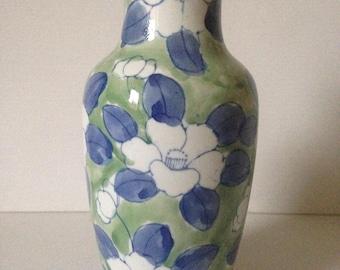 Green Floral Vase, Green Vase, Cottage Chic, Vintage Floral Vase, Housewarming Gift, Ceramic Vase, Green Home Decor, Blue and Green Vase