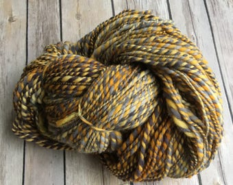 Handspun 100% Targhee Wool 2-ply Yarn - Smoke & Fire